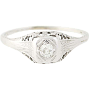 Art Deco Diamond Engagement Ring - 18k White Gold Vintage Solitaire Mine .14ct
