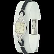 1960s Lady Elgin Diamond Watch - 14k White Gold Mechanical 2 Yr Warranty
