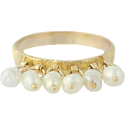 Cultured Pearl Ring - 18k Yellow Gold Dangle Drop Charms Women's Size 5 1/2