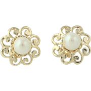 Floral Cultured Pearl Earrings - 14k Yellow Gold Scroll Petals 5mm Pierced