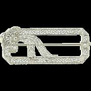 Art Deco Ribbon Brooch - 14k White Gold Vintage Filigree Diamond Accents .12ctw