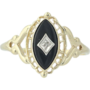 Onyx Ring - 10k Yellow & White Gold Diamond Accent Women's Size 10