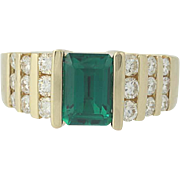 Synthetic Emerald & Diamond Ring - 14k Yellow Gold Emerald Cut 2.29ctw