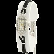 Art Deco Elgin Diamond Wristwatch- 900 Platinum Quartz Conversion Vintage .33ctw