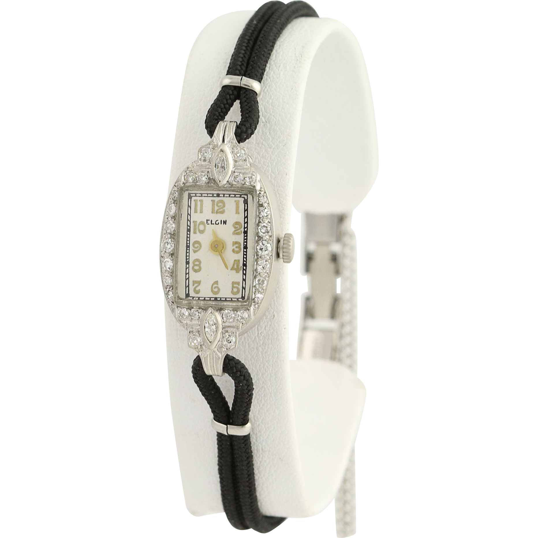 Art Deco Elgin Diamond Wristwatch- 900 Platinum Quartz Conversion Vintage .33ctw