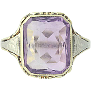 Vintage Amethyst Ring - 14k Yellow Gold Rectangular Brilliant Solitaire 5.00ct