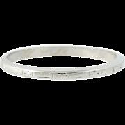 Art Deco Wedding Band - 18k White Gold Women's Ring Size 6 1/4 Vintage 1932