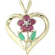 Floral Heart Pendant - 10k Yellow Gold Ruby Emerald Diamond .56ctw