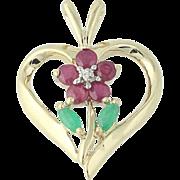Floral Heart Pendant - 10k Yellow Gold Ruby Emerald Diamond .56ctw