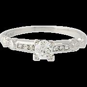 Art Deco Diamond Engagement Ring - 900 Platinum Vintage Old European .29ctw