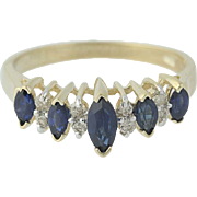 Sapphire & Diamond Ring - 14k Yellow Gold Tiered Marquise Brilliant .90ctw
