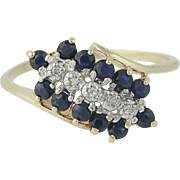 Sapphire & Diamond Cluster Bypass Ring - 10k Yellow Gold Round Brilliant .46ctw