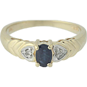 Sapphire & Diamond Ring - 14k Yellow Gold Heart Accents Oval Brilliant .32ctw