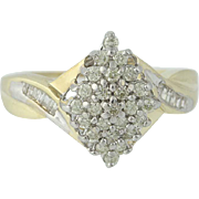 Diamond Cluster Ring - 10k Yellow Gold Round Brilliant & Baguette .50ctw