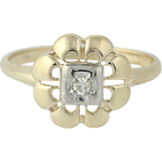 Floral Vintage Ring - 14k Yellow Gold Diamond-Accented Women's Size 8