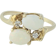 Opal & White Topaz Bypass Ring - 10k Yellow Gold Oval Cabochon .98ctw