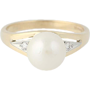 Vintage Cultured Pearl & Diamond Ring - 14k & 18k Gold 8mm Women's Size 6 1/4