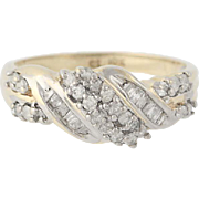 Diamond Ring - 10k Yellow Gold Anniversary Round Brilliant & Baguette .50ctw