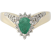 Emerald & Diamond Halo Ring - 14k Yellow Gold Pear Brilliant Cut .86ctw