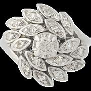 Vintage Diamond Cluster Bypass Ring - 14k White Gold Round Brilliant .44ctw