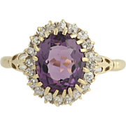 Edwardian Amethyst & Diamond Ring - 18k & 14k Yellow Gold Antique Halo 2.90ctw