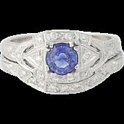 Sapphire & Diamond Engagement Ring & Wedding Band - 18k Gold Round 1.02ctw