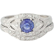 Sapphire & Diamond Engagement Ring & Wedding Band - 18k Gold Round 1.02ctw
