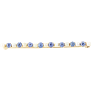Vintage Sapphire & Seed Pearl Brooch - 10k Yellow Gold Round Brilliant .60ctw
