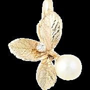 Cultured Pearl & Diamond Pendant - 14k Yellow Gold Leaf Design 6.8mm