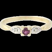 Ruby & Diamond Ring - 14k Yellow Gold Round Brilliant .12ctw