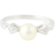Cultured Pearl & Diamond Ring - 14k White Gold 6mm Milgrain Women's Size 6 1/2