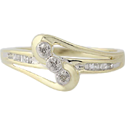 Diamond Bypass Ring - 10k Yellow Gold Size 6 3/4 Women's