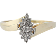 Diamond Cluster Bypass Ring - 10k Yellow Gold Engagement Round Brilliant .23ctw