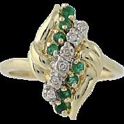 Emerald & Diamond Ring - 14k Yellow Gold Round Brilliant .23ctw