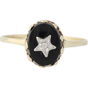 Onyx Star Ring - 10k Yellow White Gold Diamond Black Stone Cabochon