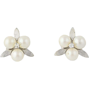 Vintage Cultured Pearl & Diamond Earrings - 14k White Gold Stud Style Pierced