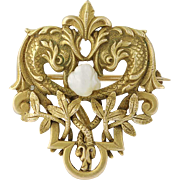 Convertible Edwardian Era Pearl Brooch - 14k Yellow Gold Vintage Pendant