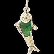 Vintage Carved Jadeite Fish Pendant - 14k Yellow Gold Jade Charm