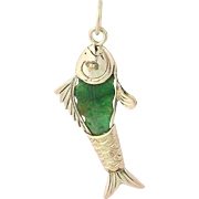 Vintage Carved Jadeite Fish Pendant - 14k Yellow Gold Jade Charm