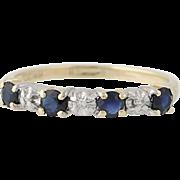 Sapphire & Diamond Band Ring - 10k Yellow Gold Round Brilliant .36ctw
