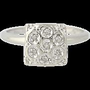 Vintage Diamond Ring - 10k White Gold Illusion Solitaire Women's Size 6 3/4