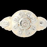 Art Deco Diamond Ring - 14k Yellow & White Gold Flower Vintage Mine Cut .11ctw