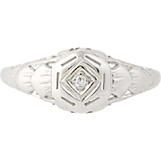 Art Deco Diamond-Accented Ring - 14k White Gold Vintage Women's Size 5 3/4