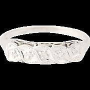 Vintage Diamond Wedding Band - 14k White Gold Five-Stone Women's Ring