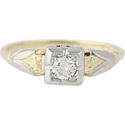 Art Deco Diamond Engagement Ring - 14k Yellow Gold European Cut Solitaire .17ct