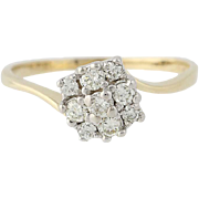 Diamond Cluster Bypass Ring - 14k Yellow Gold Round Brilliant .29ctw