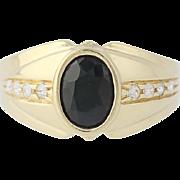 Sapphire & Cubic Zirconia Ring - 14k Yellow Gold Women's Size 8 1/2