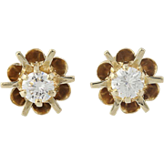 Vintage Diamond Earrings - 14k Gold Buttercup Settings Round Brilliant .46ctw