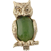 Nephrite Jade Owl Lapel Pin - 14k Yellow Gold Textured Feathers Cabochon .80ct