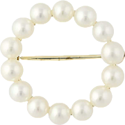Cultured Pearl Circle Brooch - 14k Yellow Gold 4 - 4.2mm Women's Pin